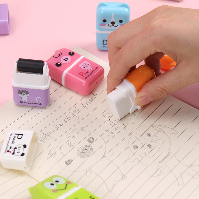 1PC Kawaii Cartoon Roller Colorful Rectangle Erasers Lovely Cat Pencil Eraser Kids Gift Creative School Office Stationery