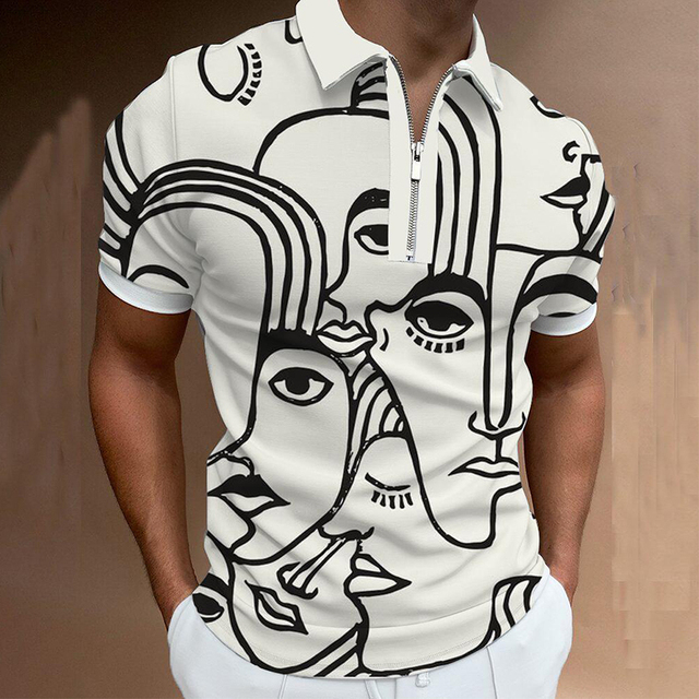Fashion Summer Men Polos Shirts Printing Short Sleeve Turn-Down Collar Zippers Casual T-Shirt Slim Breathable Fitness Sportswear 4