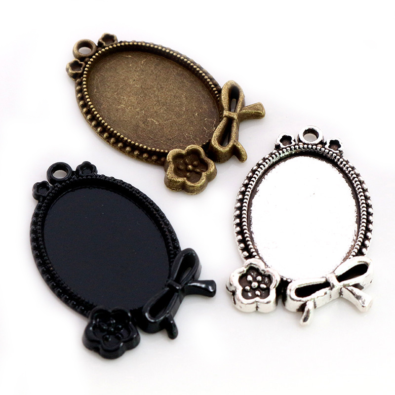 10pcs 18x25mm Inner Size Antique Silver Plated Bronze Black Flowers Style Cameo Cabochon Base Setting Pendant Necklace Findings