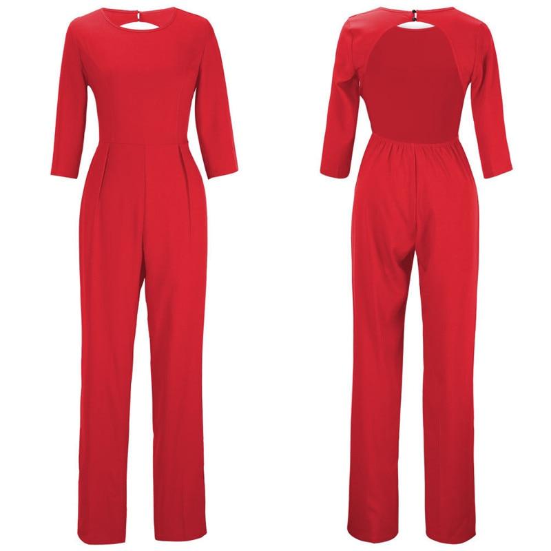 2020 European And American Ladies Solid Color Slim Long Jumpsuit   967