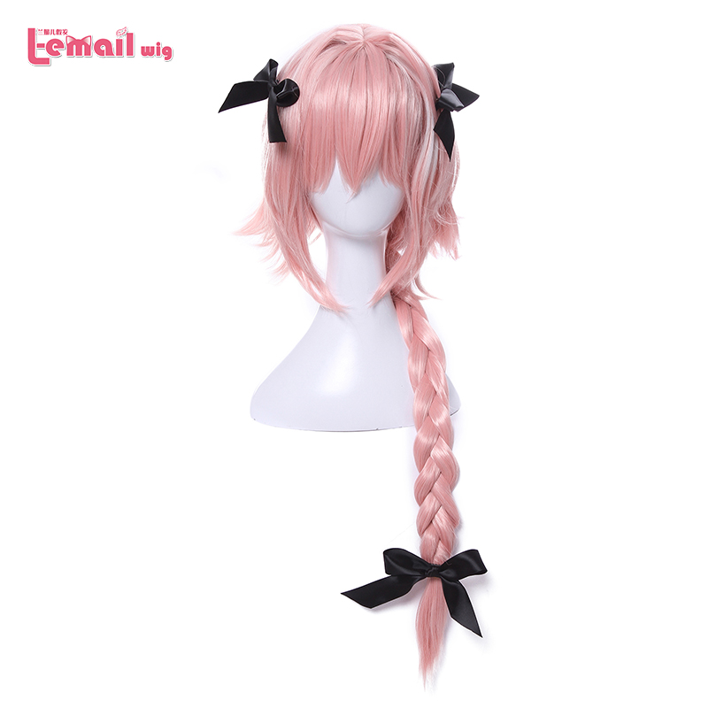 L-email Wig New Arrival Game Fate Apocryph Astolfo Cosplay Wigs Long Pink Heat Resistant Synthetic Hair Halloween Cosplay Wig