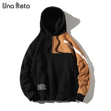 UnaReta Winter New Hip hop Men Hoodie Sweatshirt Fashion Color stitching Warm Fleece Pullover Sweatshirts Mens Casual Streetwear(China)