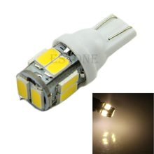 1pcs New Headlight Warm White 10 5630 LED W5W Wedge Side Light Bulb Lamp(China)