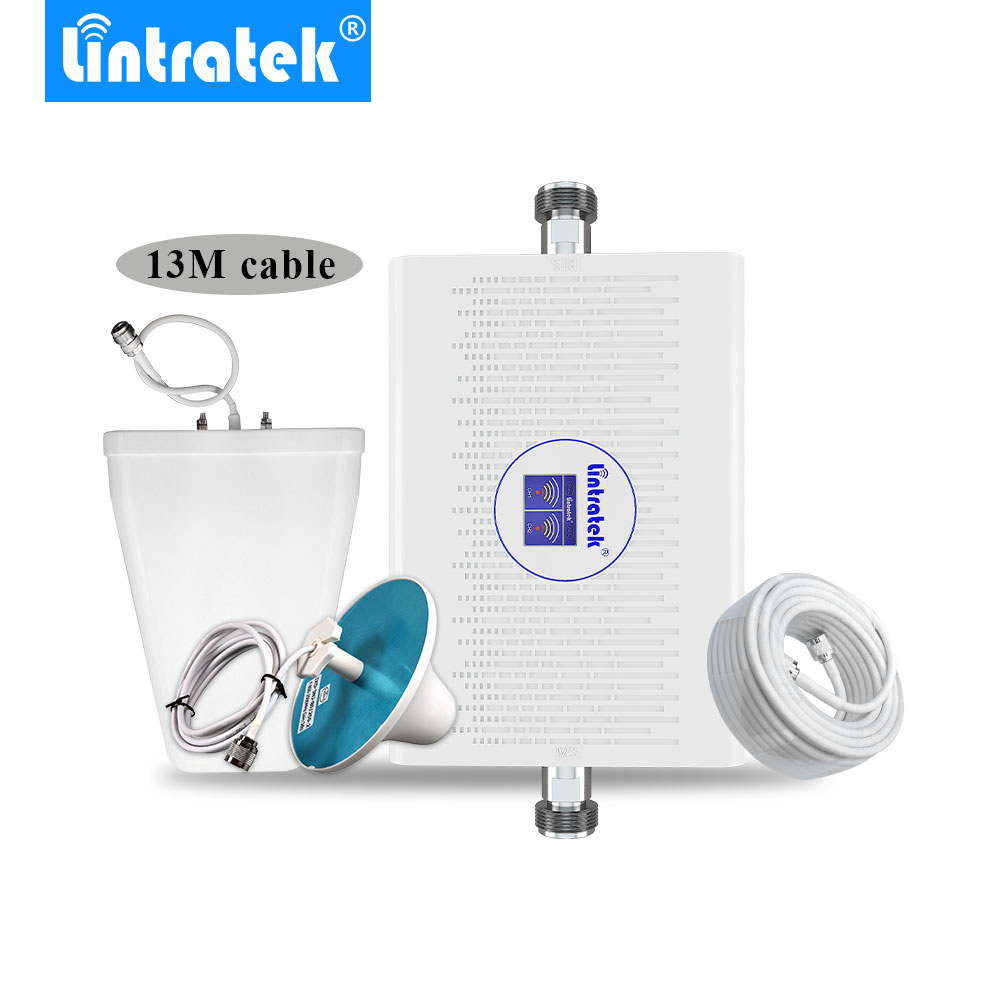 Lintratek Signal Booster 2g 3g Umts 2100MHz Gsm 900MHz LCD Display 70dB Gain AGC Dual Band Cellular Signal Repeater Antenna Set@