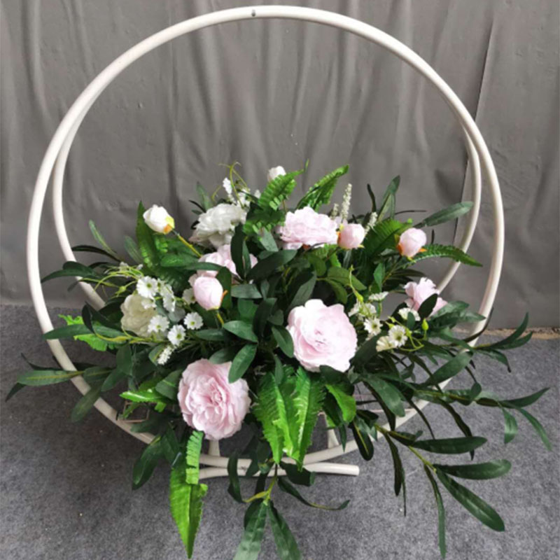 Iron Wreath Circle Wedding Props Wrought Iron Ring Flower Basket Road Leading Wedding Stage Setting Floral Flower Basket Table F