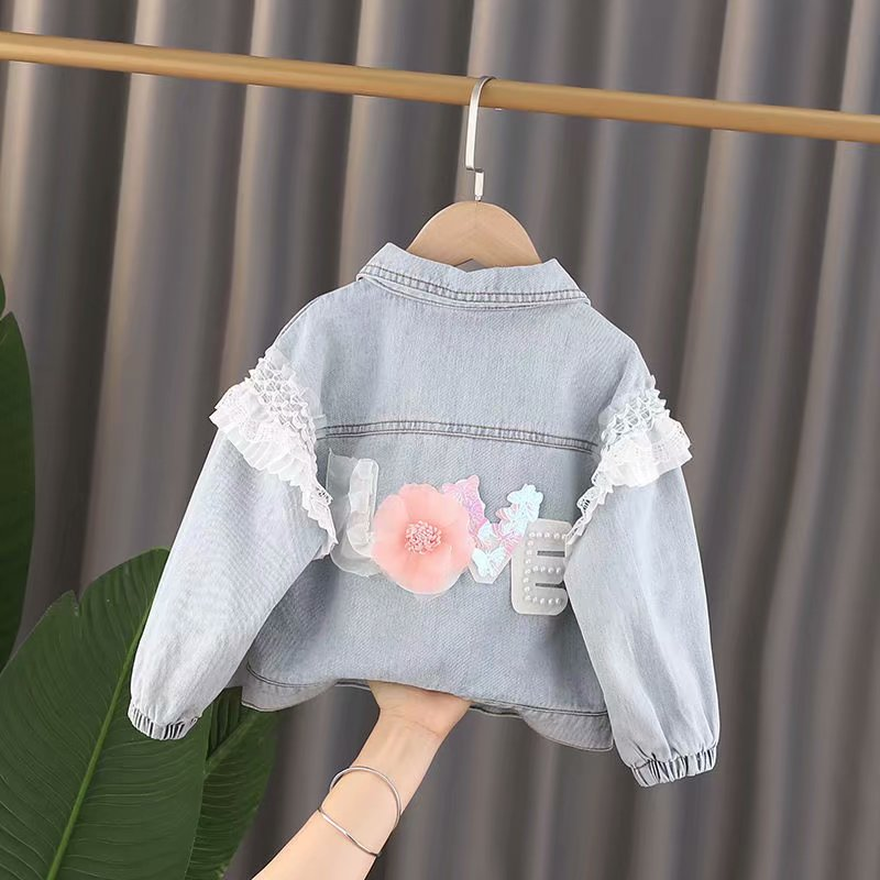 1-3 Year New Children's Denim Spring AutumnJackets Girl flower Jean Jackets Girls Kids Clothing Baby Lace Coat Casual outerwear