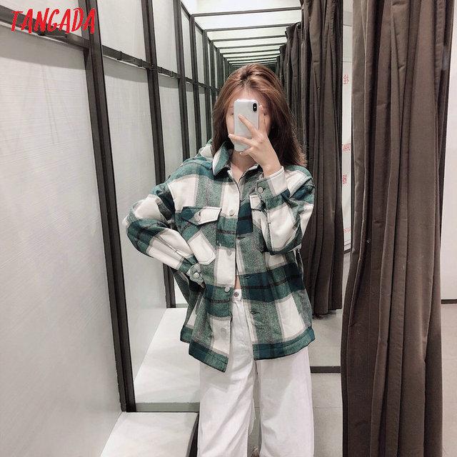 Tangada 2019 Winter Women green plaid Long Coat Jacket Casual High Quality Warm Overcoat Fashion Long Coats 3H04 2