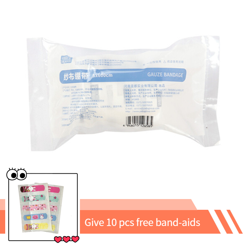 DR.ROOS 1Roll 5cm*600cm Cotton Bandage First Aid Kit Gauze Roll Wound Dressing Protective Knee And Wound Gauze Bandage