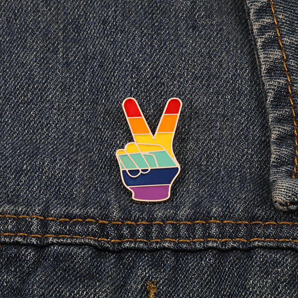 Gay lésbica branco palma broche mão multicolorido dedo vitória símbolo pino feminino homem menina melhor menino amigo presente jóias acessórios