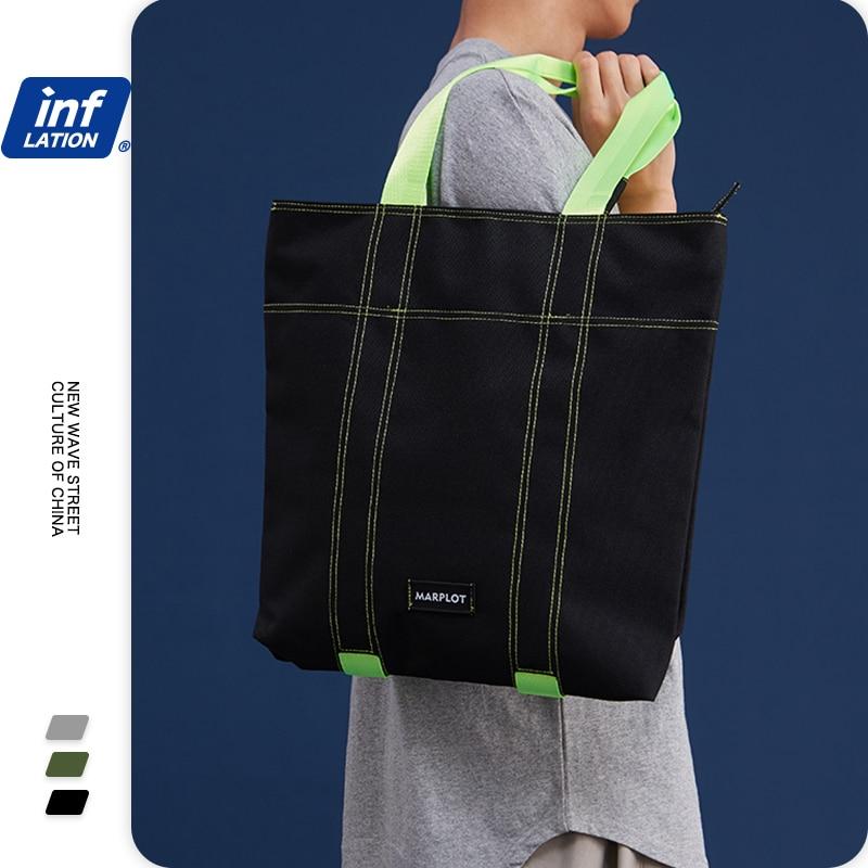 INFLATION Fashion Fluorescent Handbags Women Streetwear Casual Shopping Bag Unisex High Capacity Travel Shoulder Bags 257AI2019