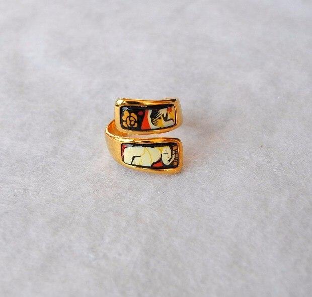 Bague mode anneau bijoux style autrichien émail cloisonné