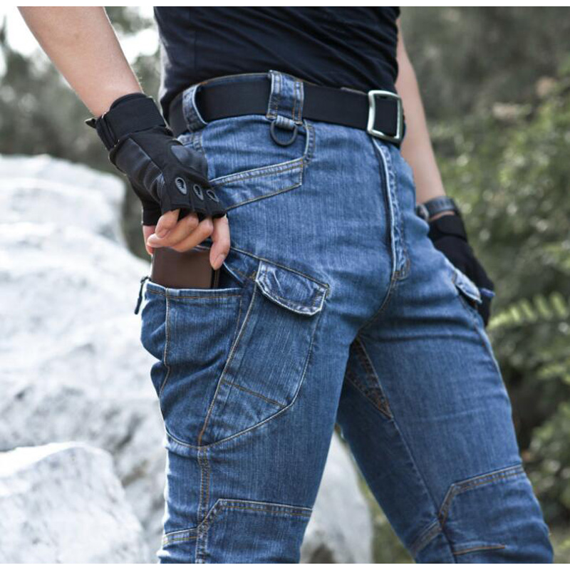 Men Tactical Denim Pants Jeans Trousers Comfortable Length Pants Multi Pockets Commuter Men Jeans