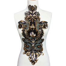 купить Sew On Black Sequin Patch Embroidered Applique Beaded Patches For Clothing Appliques Parches DIY Accessories 53x26cm дешево