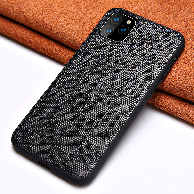 Genuine Lambskin Leather Square Grain Phone Cases For Apple IPhone 11 Pro Max X XS Max XR 7 8 6 6s 7 Plus 8 Plus 5 5S Se Cover