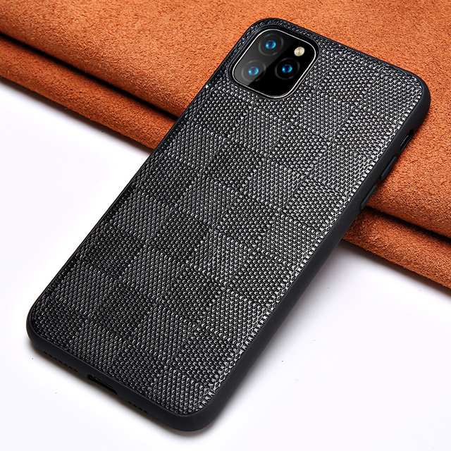 $ US $9.98 Genuine Lambskin Leather Square Grain Phone Cases For Apple iPhone 11 Pro Max X XS Max XR 7 8 6 6s 7 8 plus 5 5S SE 2020 Cover