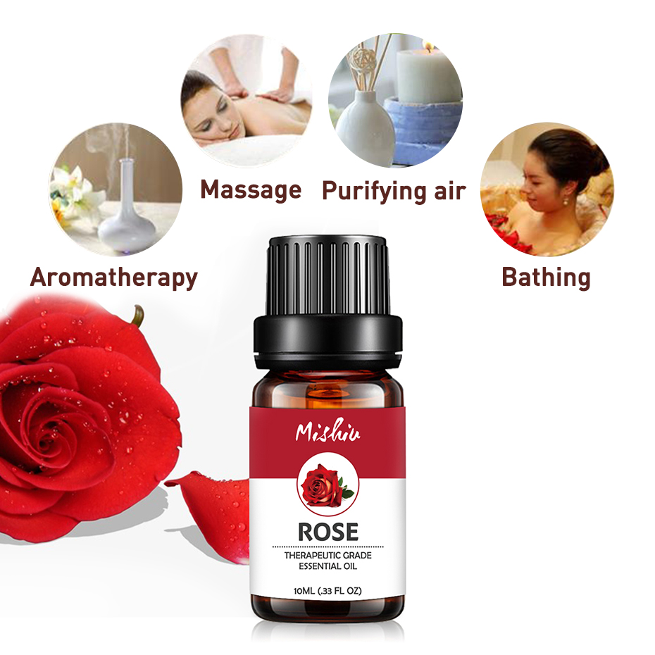 Mishiu Rose Essential Oil For Aromatherapy Cinnamon Chamomile Rosemary Tea Tree Bergamot Natural Essential Massage Oil 10ML