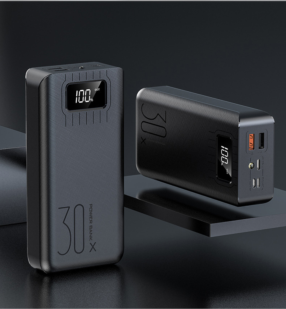Внешний аккумулятор 30000 мАч Внешний аккумулятор портативное быстрое зарядное устройство для всех смартфонов с зарядным устройством двойной USB водонепроницаемый - Цвет: black 20000mah