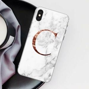Image 4 - Lettre monogramme A B C D marbre blanc souple coque de téléphone pour iphone 5 S 5 SE 6 6s Plus 7 7plus 8 8plus XS Max XR