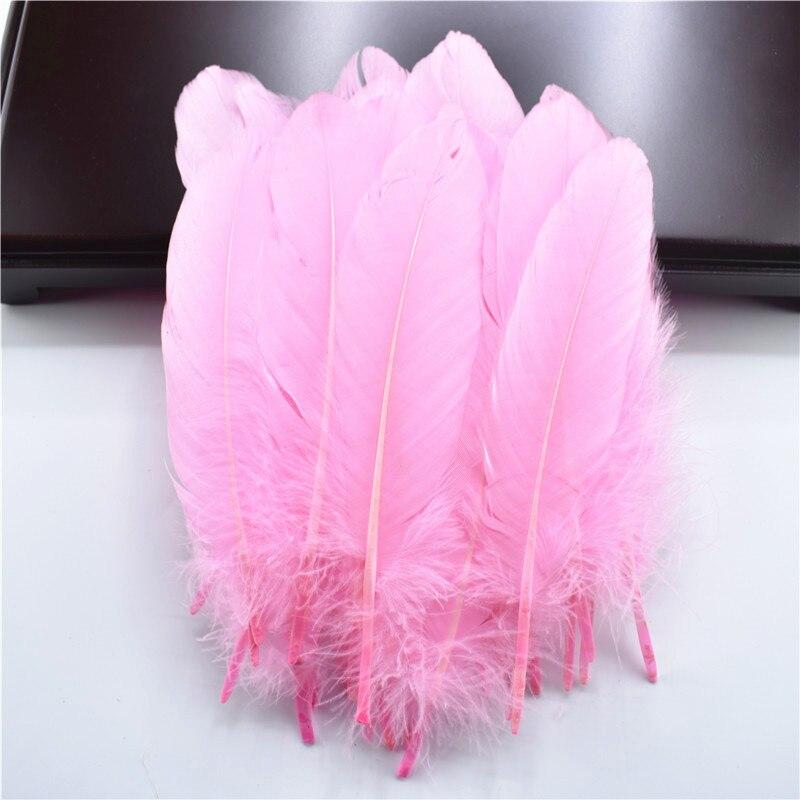 Жесткий полюс, натуральные гусиные перья для рукоделия, 5-7 дюймов/13-18 см, самодельные ювелирные изделия, перо, свадебное украшение для дома - Цвет: Pink