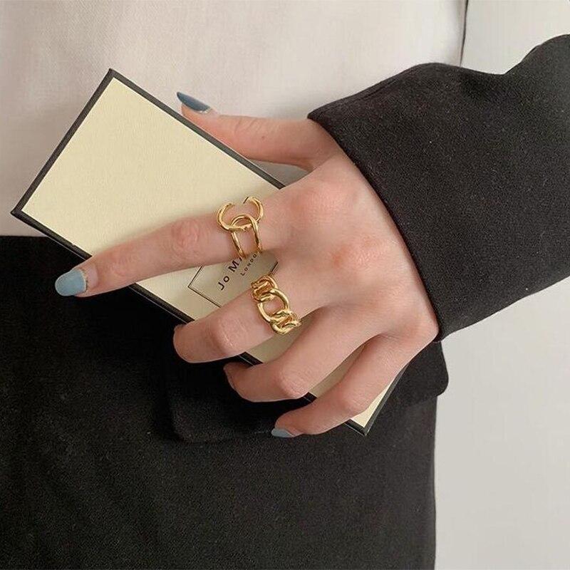 XIYANIKE 925 en argent Sterling mode à la mode exagérée chaîne croix anneau femme Cool Design Index doigt à la main bijoux cadeau 3