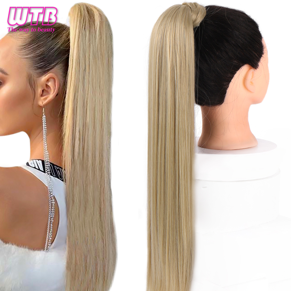WTB Women's Synthetic 22 Inch Long Straight Wrap Around Clip In Ponytail Hair Extensions Natural Black Brown Pony Tail Fake Hair