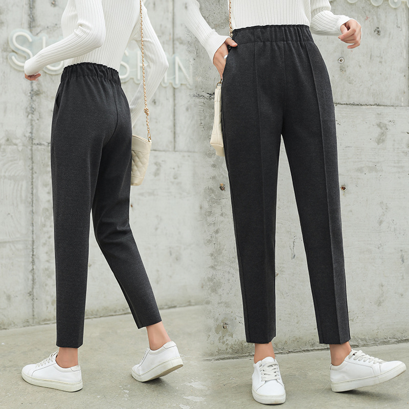 Fashion Office Pocket Pencil Woolen Pants 2019 Fall Winter Solid Ankle Length Pants New Casual Wool Warm Women Harem Pants Slim