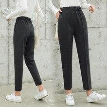 Fashion Office Pocket Pencil Woolen Pants 2019 Fall Winter Solid Ankle Length New Casual Wool Warm Women Harem Slim