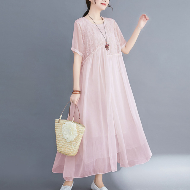 #0352 Plus Size Dress For Women Summer 2021 Elegant Embroidery Floral Loose A-line Pleated Midi Dresses Ladies Short Sleeves  4