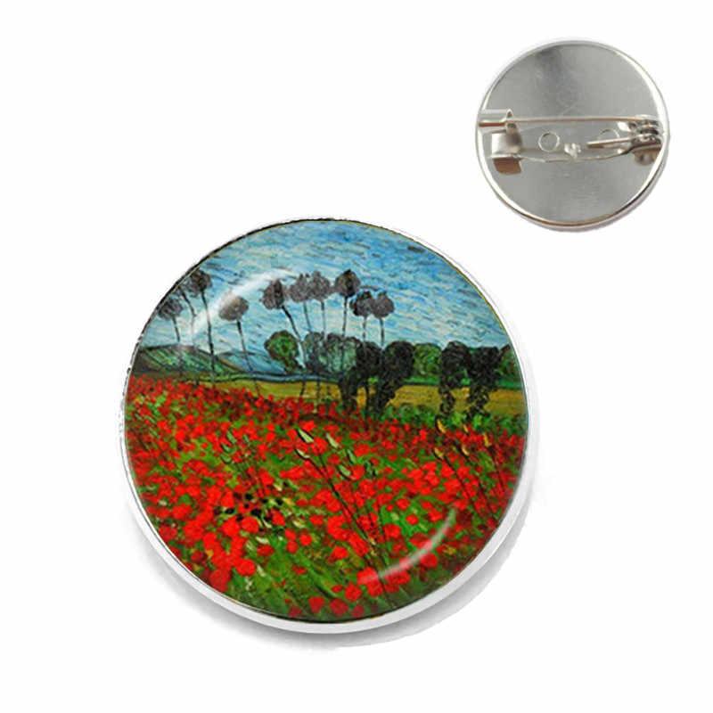 Fashion Van Gogh Art Starry Night Bunga Matahari Bros 20 Mm Kaca Cabochon Dome Tas Sekolah Perak Bros Pin Lencana untuk wanita Pria