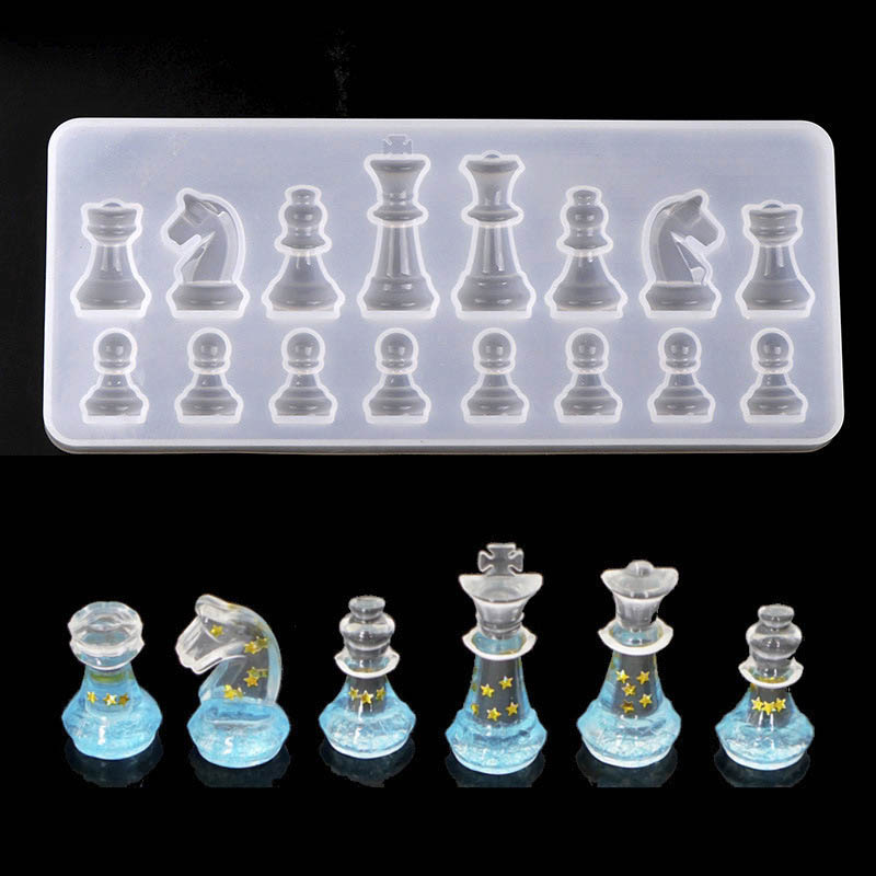 Silicone Mould International Chess Shape 3D UV Epoxy Resin Mold For DIY Jewelry Making Tools Handmade Chess Mould Findings