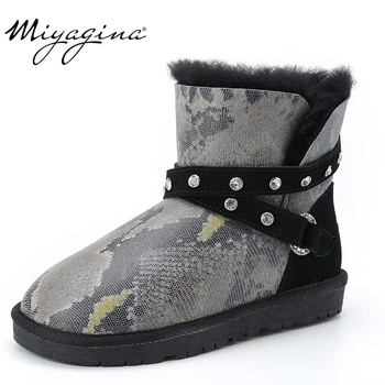 Hot Sale Top Quality Women Snow Boots Warm Winter Boots Genuine Sheepskin Leather 100% Natural Fur Women Ankle Boots
