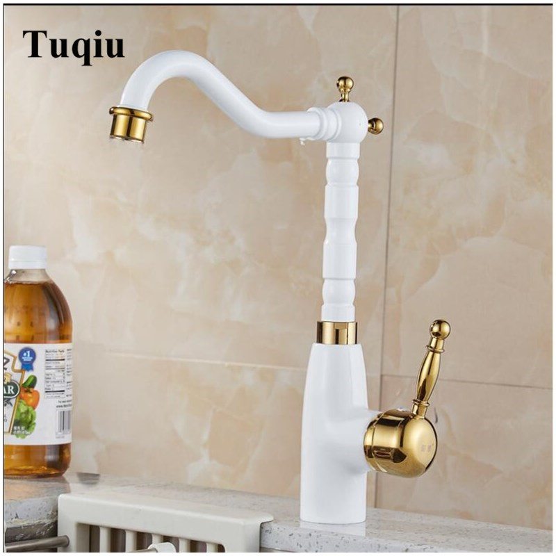 White And Gold Kitchen Faucet Sink Mixer Tap 360 Degree Rotation  Kitchen Mixer Taps Kitchen Tap