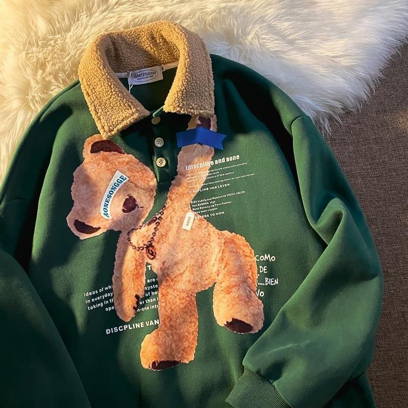 Толстый теплый свитшот с воротником-поло, винтажные толстовки, корейский стиль, зима 2020, свитшот с принтом медведя, бархатный Свободный Топ ...