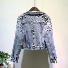 2020 Spring And Autumn Women's Denim Jacket Beaded Short Denim Coat Women Loose Denim Clothing
