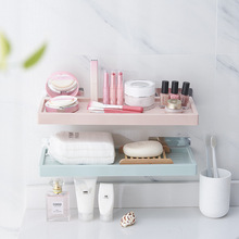 Plastic Wall-mounted Shelf Rack Simple Space Saving Storage Punch-free Flat Panel Holder Bathroom Kitchen Organizer