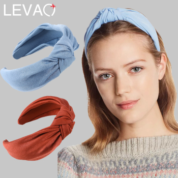 Levao Wide Knotted Silk Turban Headband Twist Head Bezel Hair Accessories for Women Solid Color Cross Knot Hair Hoop Hairbands