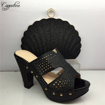Excellent black lady pumps with purse African high heel shoes and handbag set GY41, heel height 8cm