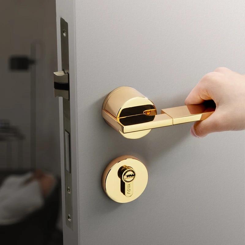 Modern Simple Style Door Handles For Interior Doors Bedroom Door Handle Lock Interior Anti Theft Room Safety Door Lock With Keys Door Locks Aliexpress