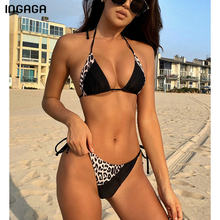 INGAGA-Bikinis de leopardo con Push-Up para mujer, traje de baño de retazos con correa de trajes de baño, ropa de playa con cuello Halter 2021