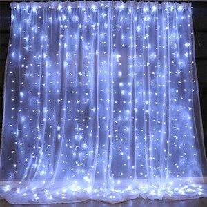 Image 2 - Thrisdar 2x3 متر/3x3 متر LED الشمسية نافذة الستار سلسلة ضوء في الهواء الطلق حديقة الشمسية الستار جليد جارلاند ضوء لعيد الميلاد عطلة