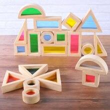 24 шт деревянные Радуга строительные блоки Монтессори игрушки
