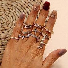 Modyle, conjunto de anillos de cristal de oro Vintage, anillo de estrella de la Luna para mujeres, abalorio de Metal, anillo de boda bohemio, joyería de moda, regalos de fiesta