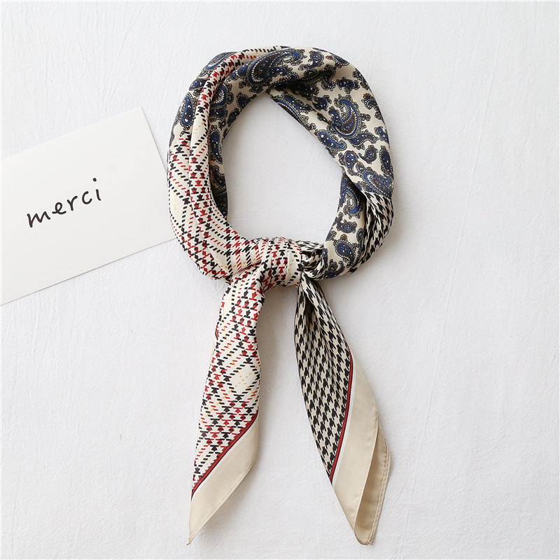 2020NEW Design Cashew Houndstooth Stitching Clean Printed Square Imitation Scarf For Ladies Hair Neck Scarf Women Kerchief