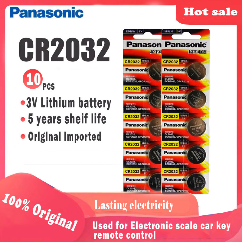 10pcs Original Panasonic cr2032 cr 2032 3V Lithium Battery For Watch computer Remote Control Calculator button cell coin battery(China)