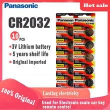 10 pçs original panasonic cr2032 cr 2032 3 v bateria de lítio para relógio computador calculadora controle remoto botão pilha moeda bateria