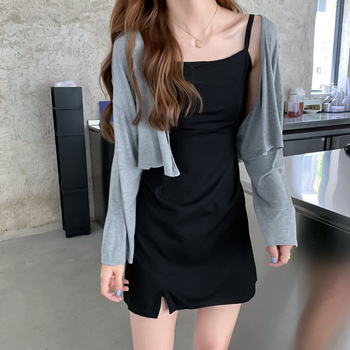 2020 Summer New Style Korean-style Long Sleeve Versatile Western Style Sun-resistant Coat Charade Slit Strapped Dress Two-Piece