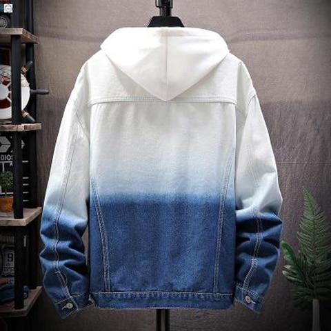 Men Gradient Jean Jackets Outerwear Autumn 2019 Fashion Denim Coats New Men Large Cotton Turn-down Collar Denim Jackets Size 5XL Lahore