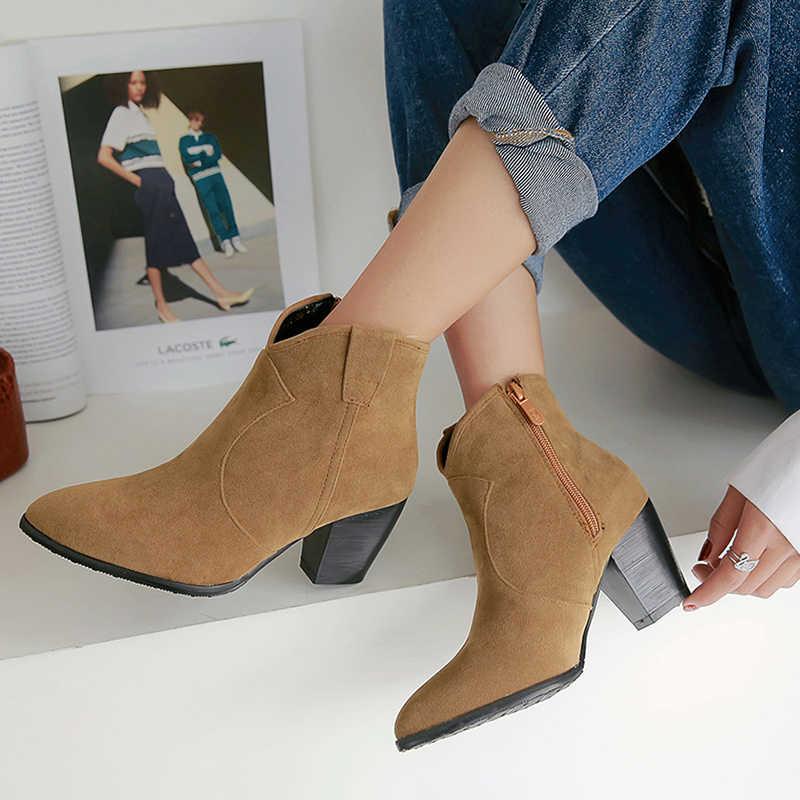 WETKISS Batı Çizmeler Kadın bileğe kadar bot Sivri Burun Ayakkabı Kadın Yüksek Topuklu Ayakkabılar Bayanlar Akın Zip Ayakkabı Kış Artı Boyutu 32 -46