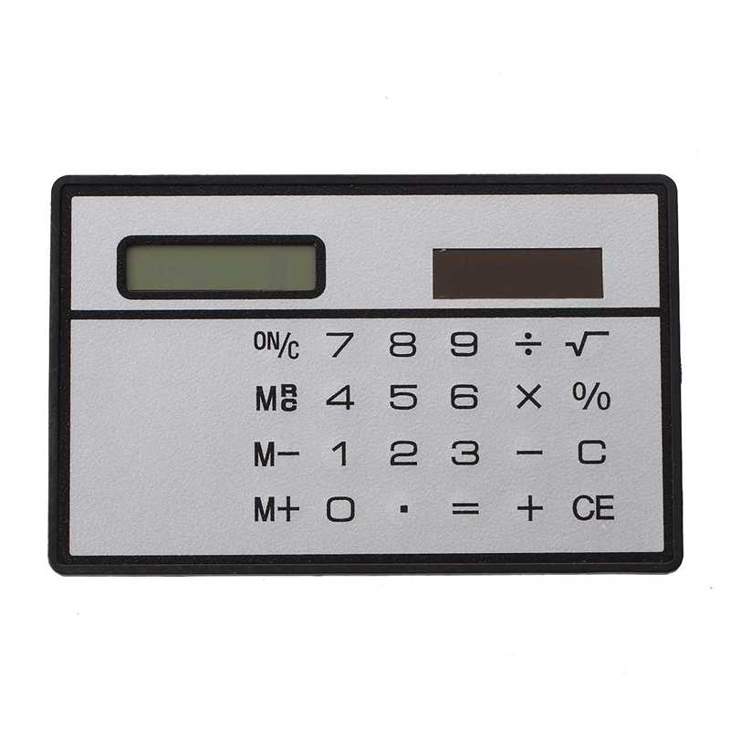 Solar Power Credit Card Sized Pocket Calculator