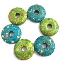 2 Colors Natural Stone Pendant Blue Turquoises Round Shape Pendants for Jewelry Making Charms Diy Necklace Accessories 30x30mm